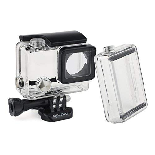Standard Protective Waterproof Dive Housing Case for GoPro Hero 4, 3+, and 3 Camera and BacPac Backdoor for Extended LCD Screen or Expansion Battery - Up to 40 Meters Underwater - Transparent Clear by QiuNiu