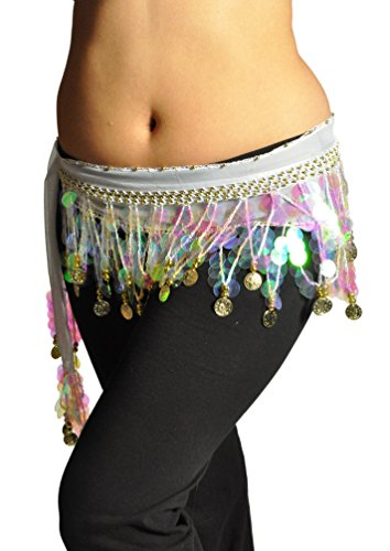 Multi-Row Paillettes Gold Coins Belly Dance Wrap & Hip Scarf,