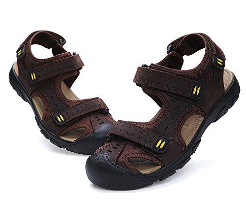 ka18051603 Oscuro Verano Zapatos al Libre Marrón de Cuero Aire para Hombres Trekking de Sandalias Junkai xC6Sqw7BC