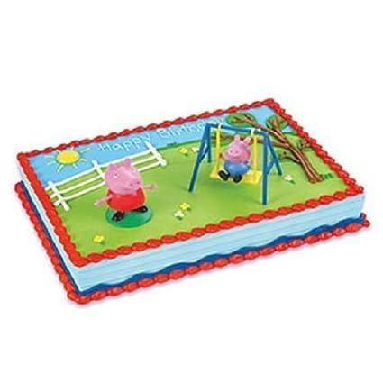 Amazon Com Decopac Peppa Pig Swing Set Decoset Cake Decoration