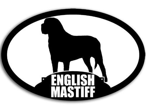 - American Vinyl Oval English Mastiff Silhouette Sticker (Dog Breed Decal)