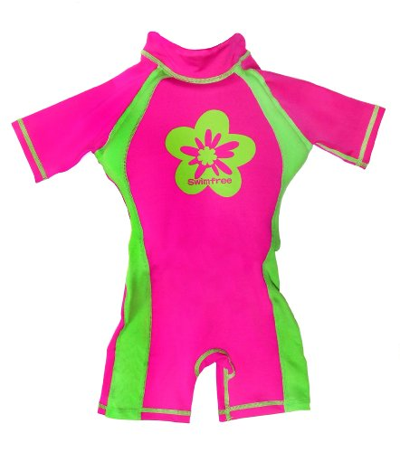Swimwear Flotation (Girls Pink/green Floating Swimsuit Flotation Suit Size Small Age 1.5-3.5 Years)