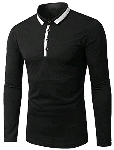 Color mood Mens Slim Fit Lapel Long Sleeve Casual Tops BlackUS Large