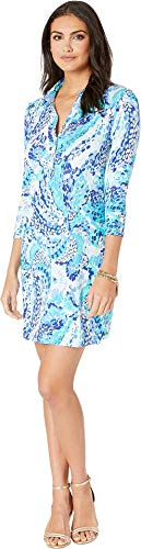 Lilly Pulitzer Women's UPF 50+ Ansley Polo Dress Turquoise Oasis Wave After Wave X-Small