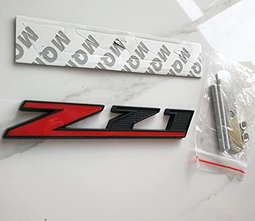 AngelMa Matt Black Red Grille Z71 Emblem Badge for Gmc Chevy Silverado 1500 2500Hd Sierra Tahoe Suburban 3D