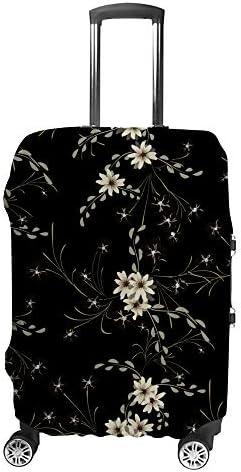 スーツケースカバー かわいいヒナギク 小さな花 黒背景 伸縮素材 キャリーバッグ お荷物カバ 保護 傷や汚れから守る ジッパー 水洗える 旅行 出張 S/M/L/XLサイズ
