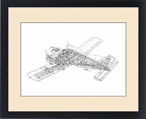 Framed Print of Piper Pa-34 Seneca Cutaway Drawing
