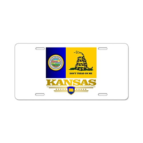 CafePress - Kansas Gadsden Flag Aluminum License Plate - Aluminum License Plate, Front License Plate, Vanity Tag]()
