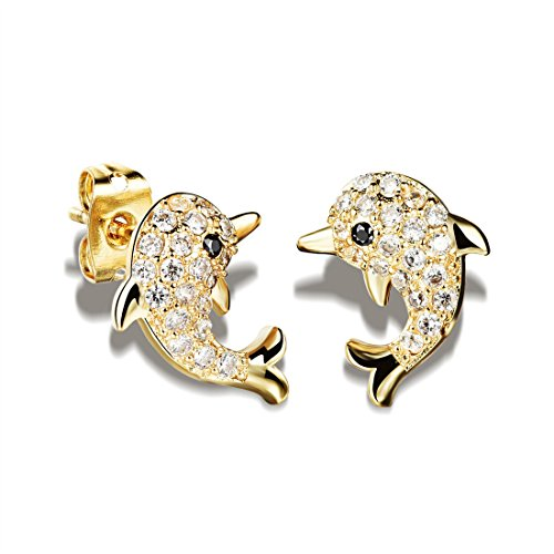 Mymate Dolphin Stud Earrings for Women and Girl Cute Gold Tone Zircon Stone (Dolphins Ring Tone Gold)