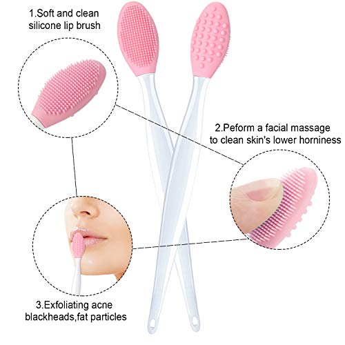 6 Pieces Double-Sided Silicone Exfoliating Lip Brush and Silicone Face Cleanser and Massager Brush Silicone Facial…