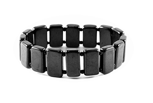 Karelian Heritage: Shungite Bracelet from Russia Rectangular Stone Polished Beads. Gift for Him Man SB10