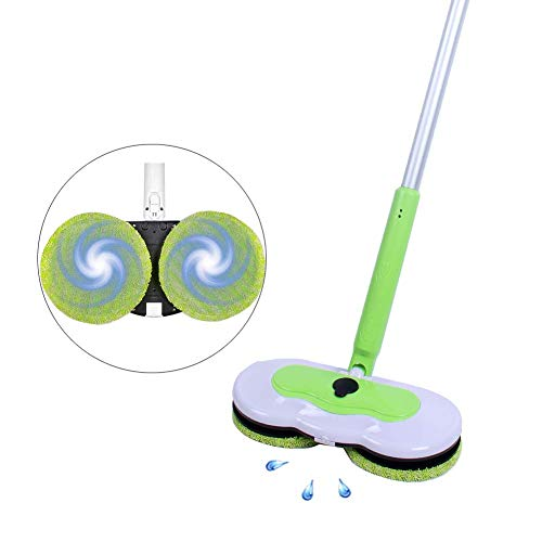 Cordless Electric Mop with Rotated Handle and Water Spray Function, Perfect for Hardwood, Laminate and Tile Floor Cleaning, 2 Sets of Replacement Pads