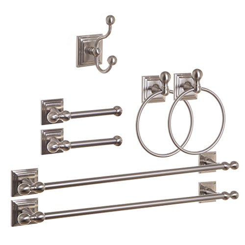 BINO Franklin' 7-Piece Bath Hardware Towel Bar Accesory Set, Brushed Nickel (Set Accesory)