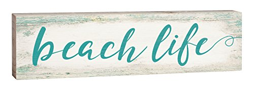 Beach Life Turquoise Script Design White Wash 2 x 6 Inch Solid Pine Wood Paul Bunyan Toothpick Sign (Blessing Urban Life)