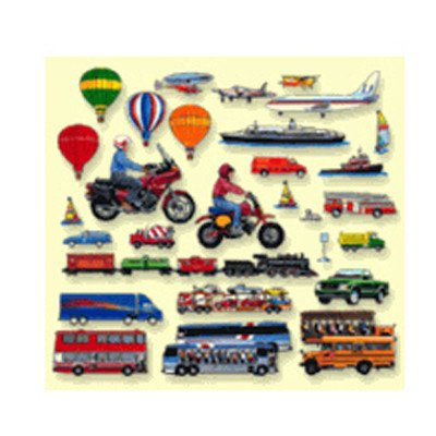 Little Folk Visuals Train, Trucks & Planes Precut Flannel/Felt Board Figures, 24 Pieces Add-On Set