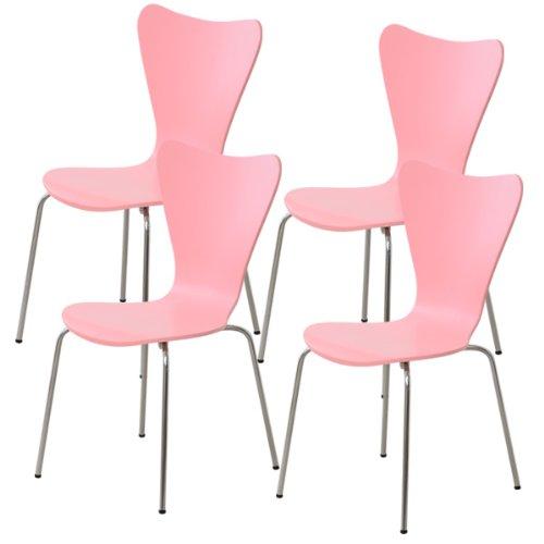 おしゃれでシンプル!ダイニングチェア ピンク 4脚セット(カジュアルなデザイナーズチェア) B06WRNQ4NB チェア4脚セット|ピンク ピンク チェア4脚セット