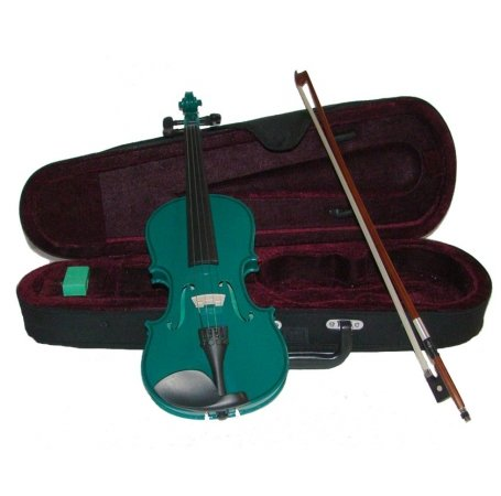 Merano MV300GR 1/2 Size Green Violin with Case and Bow+Extra Set of Strings, Extra Bridge, Rosin, Pitch Pipe, Shoulder Rest by Merano