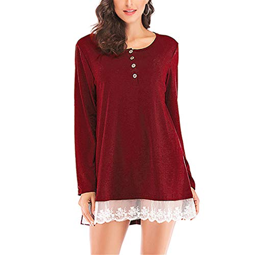 107afcb9fec AOJIAN Blouse Women Long Sleeve T Shirt O Neck Button Neckline Lace  Patchwork Tunic Tank Shirts
