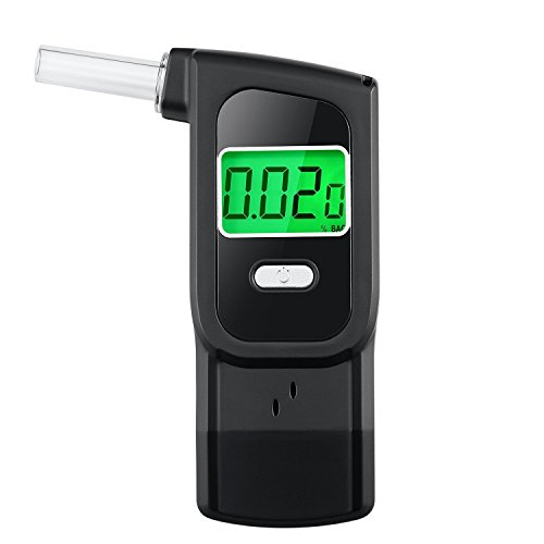 Anntoo Professional Breathalyzer, Portable Digital Alcohol Tester Detector with 5 Mouthpieces for Personal Use -Black