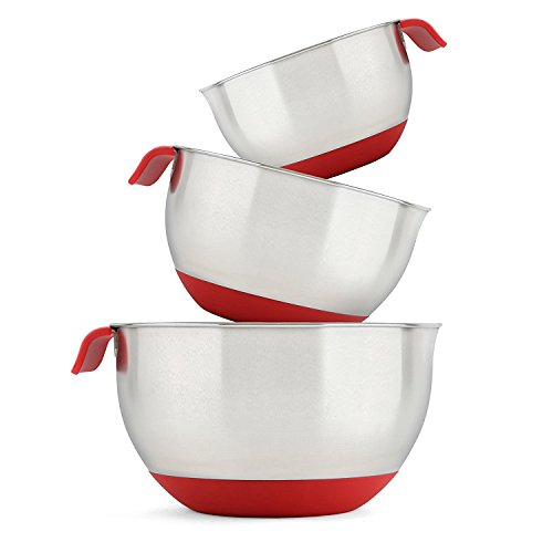 Stellar Stainless Steel Mixing Bowl Set. Red Salad Bowls with Silicone Grips & Handles. Mirror finished Nesting Bowls Set contains 1.5 QT, 3 QT & 5 QT Mixing Bowls