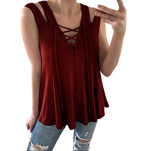 Women's Sleeveless Hollow Out Tank Top V Neck Cross-Over Strap Cami Casual Vest Wine