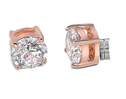 Round Pierced Basket (Buyless Fashion Comfortable Magnetic Rose Gold Round Crystal CZ Earring – 7MM)