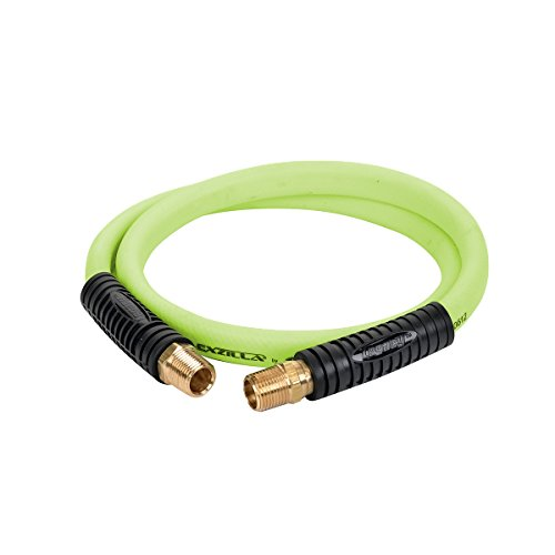 Flexzilla Swivel Whip Air Hose, 1/2 in. x 4 ft. (1/2 in. MNPT Swivel x 1/2 in. MNPT Ends), Heavy Duty, Lightweight, Hybrid, ZillaGreen - HFZ1204YW4S - Whip Air