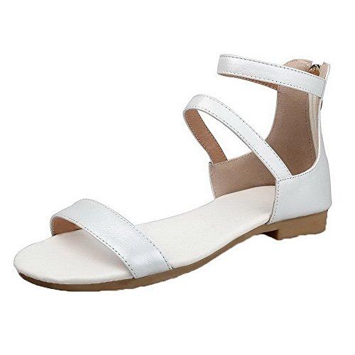 AalarDom Mujer Cremallera Puntera Abierta Mini Tacón Pu Sólido Sandalias de vestir Blanco