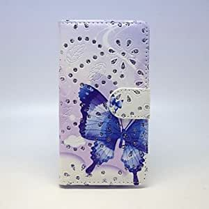 QYF Blue Butterfly Patterns PU Leather Full Body Case with Stand and Card Slot forSamsung Galaxy A3