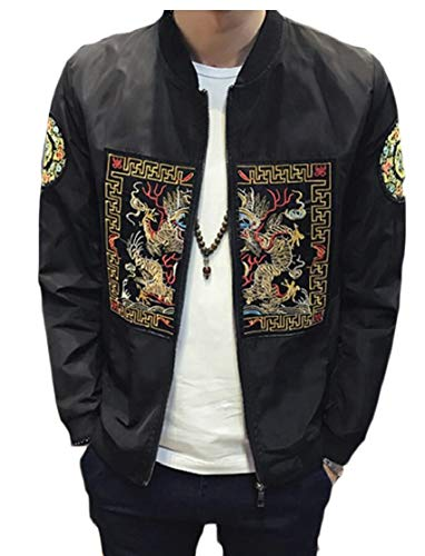 Jacket Baseball Men's TTYLLMAO Bomber Embroidery Black Coat aId8q