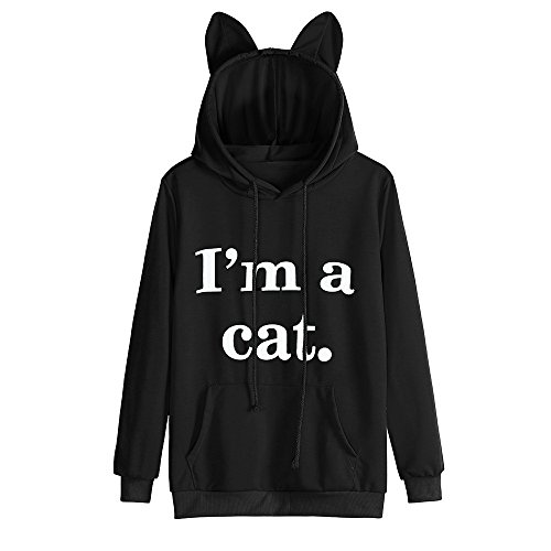 Sweatshirt,Toimoth Womens Cat Long Sleeve Hoodie Sweatshirt Hooded Pullover Tops Blouse (BlackA,XL)