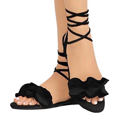 Peep up Zapatos Playa Planos Sandalias Negro De Mujer Zapatos Sandalias Chancletas Lace Toe jianhui Verano Zapatos Casuales De Moda Abierto Plano Moda Romanoas Sandalias FUwRCqA
