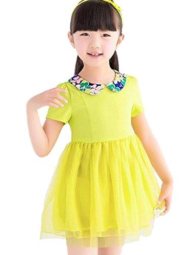 Happy Girls' Lapel Short Sleeve Tulle Dress 4T yellow