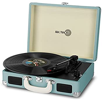 Photive SoulTracks Portable 3-Speed Turntable with built in Speakers. Vinyl Stereo Record Player Fully Automatic Belt-Drive- Turquoise
