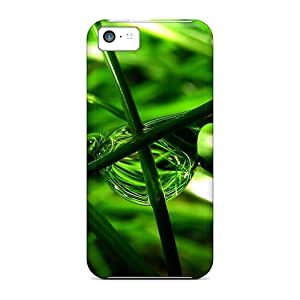 For OTcase Iphone Protective Case, High Quality For Iphone 5c Green Grass With A Drop Of Rain Water Skin Case Cover