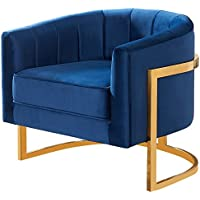 Meridian Furniture 515Navy Carter Upholstered Velvet Barrel Accent Chair with Gold Stainless Base, 31.5L x 28.5D x 27.5H, Navy