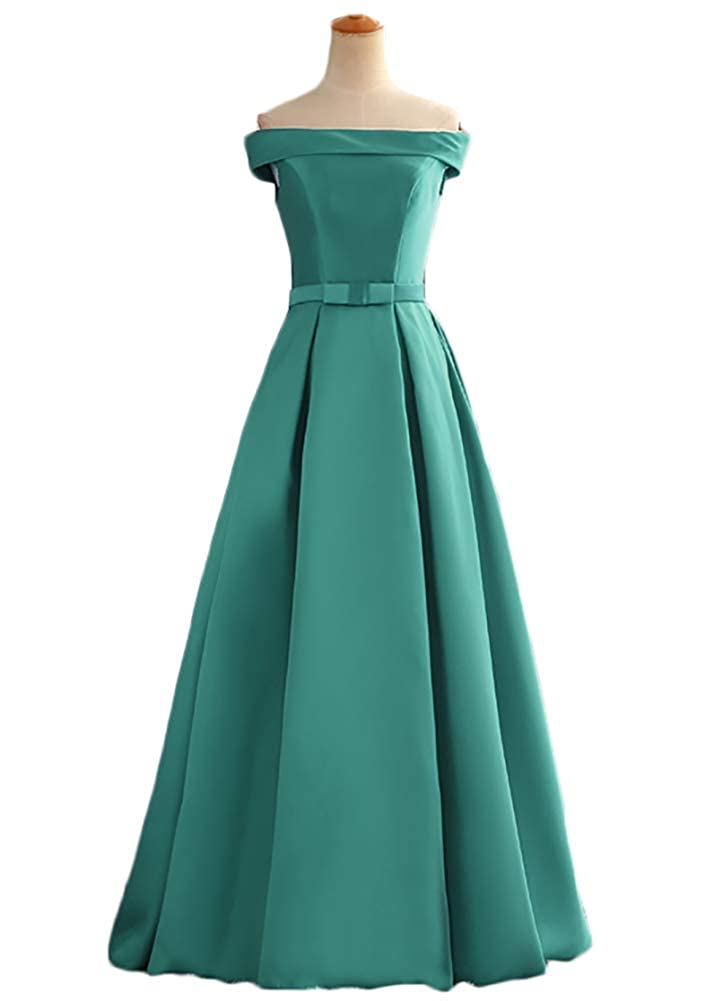 Green Baixia Womens Satin Formal Long Prom Evening Dresses Off Shoulder Ball Gowns