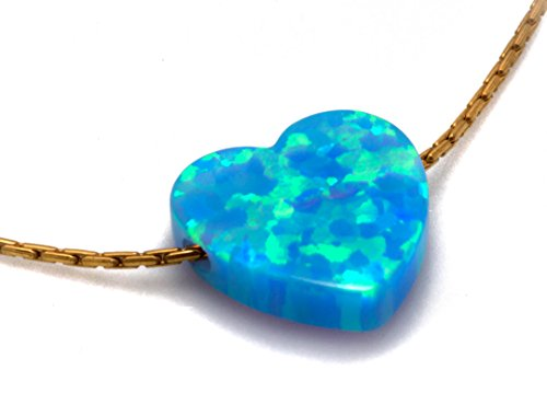 Synthetic Blue Opal Tiny Heart Necklace Charm Pendant with 18.9