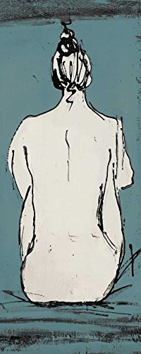 Nude Sketch on Blue II - Fine Art Print on Canvas - Gallery Wrap - 18 x 22 Inch - Ready to Hang Wall Printing