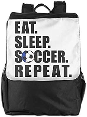 Lamont Rhea Eat Sleep Soccer Repeat Messenger Bag Shoulder Backpack Travel Hiking Rucksack for Womens Mens