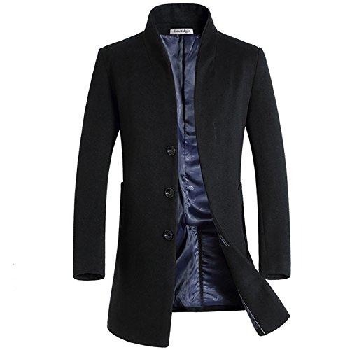 largo de negocios ¡ francés lana delantera hombre abrigo regalo parte Fit para cloudstyle Negro Slim wCFpgq1
