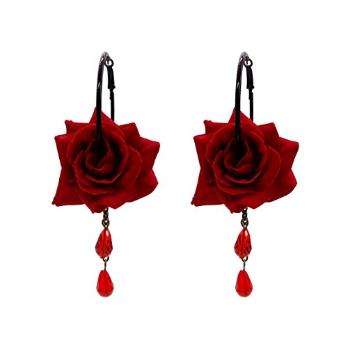 (RareLove Vintage Red Rose Flower with Teardrop Beads Dangle Hoop Earrings)