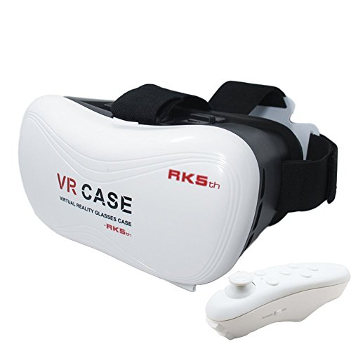 "Eastchina® VR BOX 3D Glasses, 3D Virtual Reality Glasses, 3D Video Glasses Helmet Headset, Suitable For 3.5''-6.0"" iPhone / Samsung Note / LG / HTC Moto Etc. iOS, Android & PC phones (White-5)"