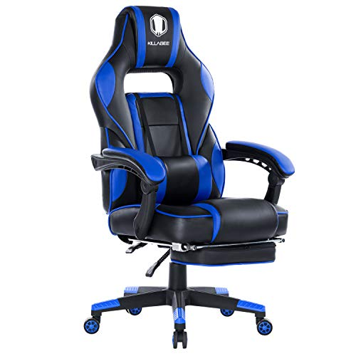 KILLABEE Reclining Memory Foam Racing Gaming Chair - Ergonomic High-Back Racing Computer Desk Office Chair with Retractable Footrest and Adjustable Lumbar Cushion (Blue.)