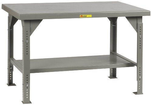 Workbench Steel 12 Gauge (Little Giant WW-3672-ADJ Welded Steel Workbench, 1 Lower Shelf, 10,000 lb. Load Capacity, 28