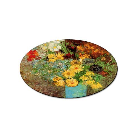 - Vase with Daisies and Anemones By Vincent Van Gogh Oval Sticker