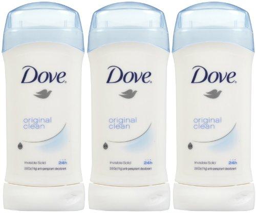 Dove Invisible Solid Deodorant, Original Clean - 2.6 oz - 3 pk