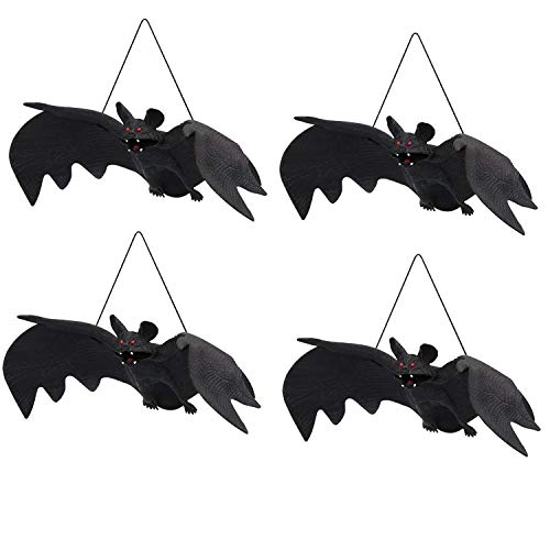 UCLEVER Halloween Hanging Bats Realistic Looking Fake Spooky Bat Halloween Outdoor Indoors Decoration, 9.4inch Large Size, 4 Pcs