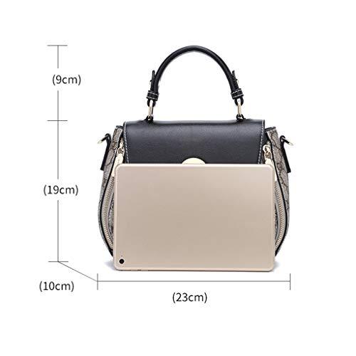 Ethba Fourre Messenger Bag De Femme tout Couture Noir Épaule Mode Sauvage Motif Selle Rétro Sac Personnalité rUAvcr