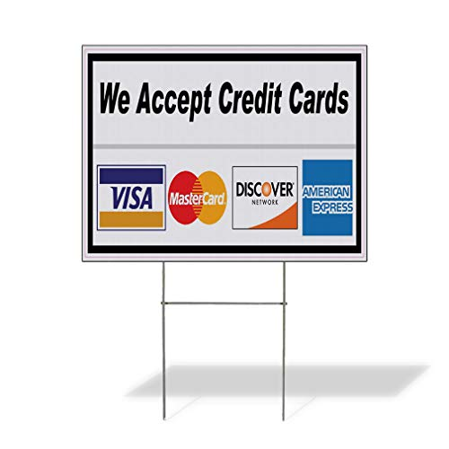 Plastic Weatherproof Yard Sign We Accept Credit Cards Restaurant Cafe Bar Style U Cards Buy Here Pay Here Blue Cards for Sale Sign Multiple Quantities Available 18inx12in One Side Print One Sign